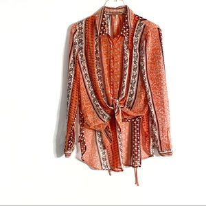 Free People Moonlight Mile Blouse in Hot Coral